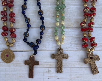 Handknotted necklaces with artisan pendants boho jewelry Sundance style necklace cross spiritual necklace Mother's Day gift