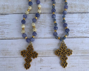 Handknotted necklace made with Czech glass beads boho necklace spiritual Sundance style Cross beaded necklace