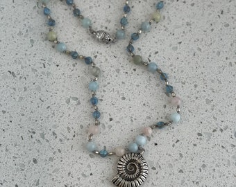 Sea Shell Necklace boho beach jewelry women's gift natural gemstone necklace layering necklace