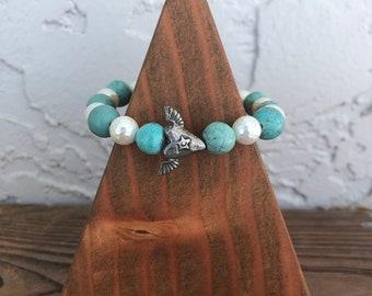Stretch Bracelet with Green Girl heart bead bracelet Turquoise and shell Pearls gift for women, boho hippie bracelet stacking