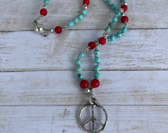 Sundance style beaded necklace with sterling peace sign and hand knotted howlite and coral beads Fair Trade Necklace Boho women's gift