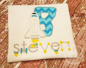 Space Birthday Shirt - Rocket Ship Birthday Shirt -  Custom Tee Personalized Birthday Tee 23
