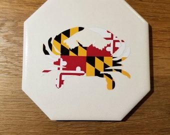 SALE Maryland Flag Crab Coaster Set (Set of 4 Coasters) SALE