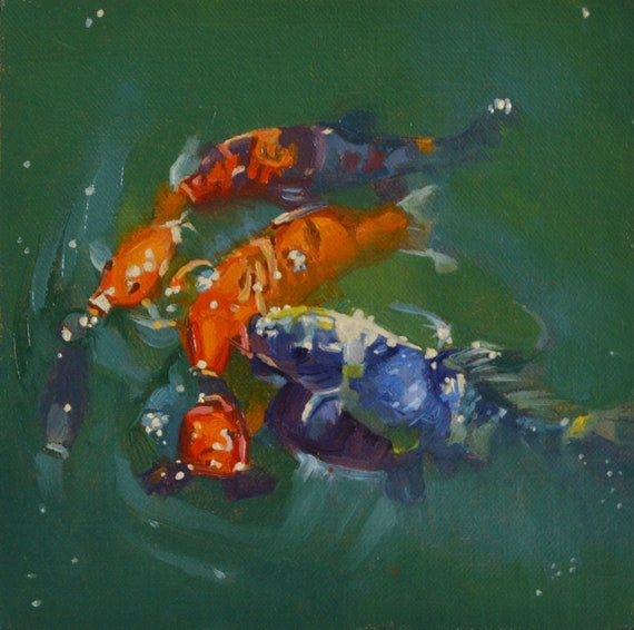 Koi Fish Pond Water Swimming Swim Nature Oil Painting Plein Air Art Original Painting Seascape Movement Color
