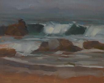 Plein Air - Waves - Oil Painting - California - Sea - Gray - Seascape - Beach - Seaside - Ocean - Sea - Rocks - Spray - Surf - Foam - Coast