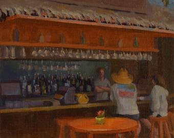 Crystal Cove - Bar - Saloon - Conversation - Original Oil Painting - Summer - Cafe - Bootlegger - Wood - Laguna Beach - California - Beach