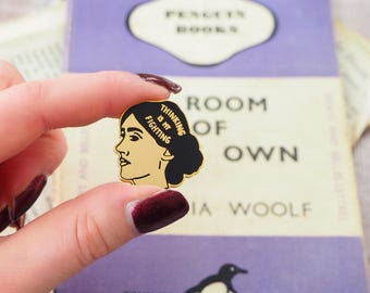 Virginia Woolf Enamel Pin - Feminist Enamel Pin Badge  - Geek Gift for Book Lover - Book Pin - Library - Literature - Feminism - Girl Power