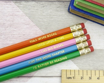 Book Lover Pencil Set - Engraved Colourful Quote Pencils - Stationery Gift for Book Lover - Geek Gift
