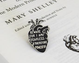 Frankenstein Enamel Pin - Anatomical Heart Enamel Pin Badge  - Gothic Literature Collection - Book Lover - Halloween