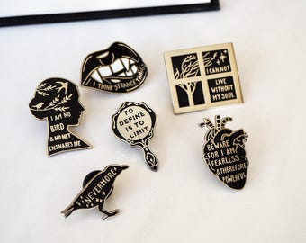 Gothic Literature Enamel Pin Set - Set of six pin badges - Book Pins - Back and Silver Enamel Pins - Gift for Book Lover
