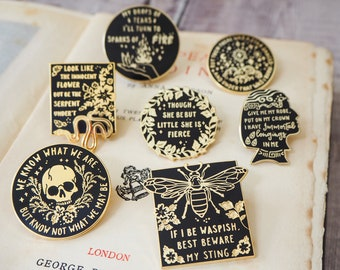 Shakespeare's Heroines Collection Enamel Pin Set - Set of Seven Pins - Book Lover - Feminist Pin - Shakespeare Pin Badge - Literature Gift