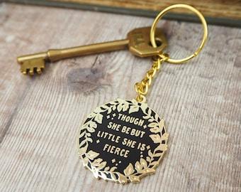 Hermia 'Little But Fierce' Keyring - Enamel Keychain - Shakespespeares Heroines - Book Lover - Though she be but little she is fierce