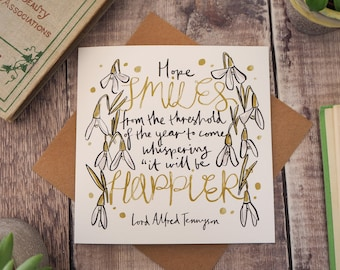 literary quote new year card happy new year card alfred tennyson quote snowdrops birthday card greetings card blank card