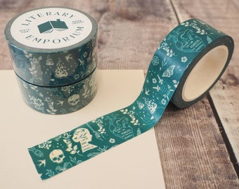 Teal Washi Tape - Bookish Pattern - Paper Tape - Decorative Tape - Bullet Journal