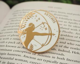 Artemis Goddess of Hunting Enamel Pin – Greek Mythology Collection - Book Pin Badge - Feminist Pin - Literature Gift - Dark Academia