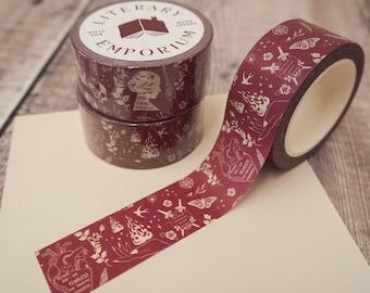 Burgundy Washi Tape - Bookish Pattern - Paper Tape - Decorative Tape - Bullet Journal