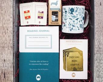 Book Lover Gift Set - Tea - Mug - Reading Journal - Gift Book Lover - Enamel Pin - Literature Gift