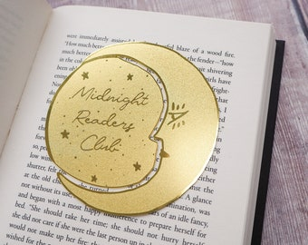 Midnight Readers Club Moon Brass Bookmark - Crescent Moon Bookmark -  Gift for Readers and Book Lovers - Book Mark - Metal Bookmark