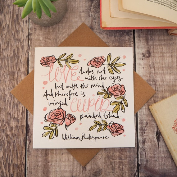 Shakespeare Valentines Day Card With Love Quote Love Etsy