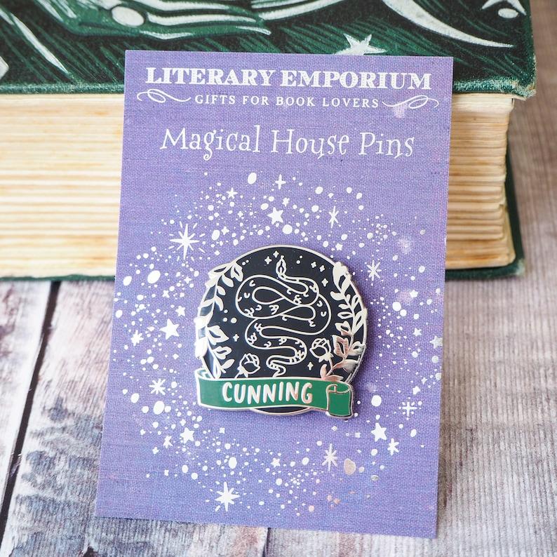 Magical House Enamel Pin Collection Book Lover Enamel Pin Badge Magic Enamel Pin Badge Cunning Snake Wizard