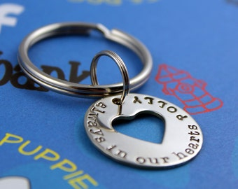 KEY CHAIN - Pet Memorial - Handstamped Nickel Silver Keychain - Dog or Cat Memorial Gift - Always in Our Hearts - Pet Remembrance