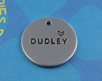 Simple Metal Dog Tag - Hand stamped Pet Tag - Metal Dog ID Tag - Name with Heart - Phone Number on Back
