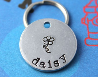 SMALL Dog or Cat Tag - Aluminum Customized Pet Tag - HandStamped Personalized Dog Tag - Other Metals Available