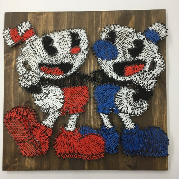 Cuphead and Mugman String Art
