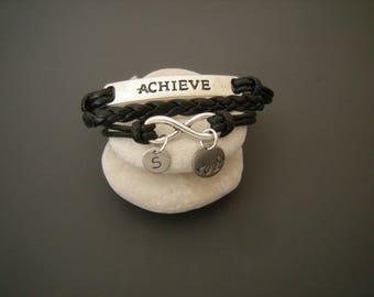 Graduation gift, Motivational bracelet, Achieve bracelet, inspirational gift, Personalized bracelet, graduation bracelet, Infinity bracelet