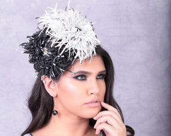 Black and white chrysantemums Derby Hat, fascinator, Kentucky Derby hat, couture hat, races, wedding , Melbourne cup hats