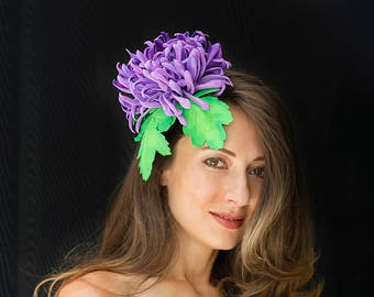 CHRYSANTHEMUM ASTER   flower,  hairclip,  hat clip, millinery, races, wedding, hair jewellery, hair pick, fascinator
