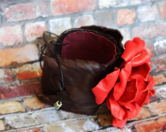 CUFF BRACELET leather brown adjustable with leather flower red rose.