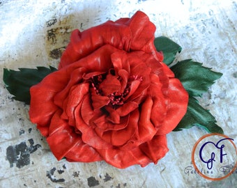 LEATHER FLOWER RED   Old English rose     pin brooch hair hat clip fascinator.Leather anniversary wedding gift millinery melbourne cup