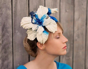 LEATHER  white and blue   flower  hibiscus headband headpiece   hat  fascinator races wedding millinery.