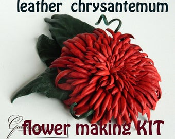 Leather chtysantemum  flower making kit, craft kit, DIY kit, leather brooch kit, leather jewelry kit, DIY leather jewelry kit