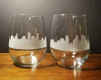 Twin Cities - Minneapolis/Saint Paul Skyline Stemless Wine Glasses - Set of 2