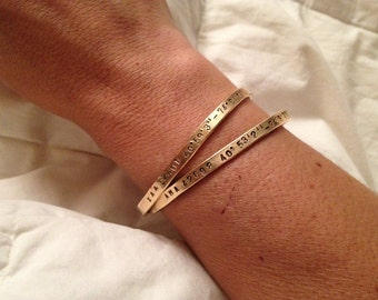 Memory Bangle Bracelet - initials - birthdate - coordinates - Brass or Nickel Silver