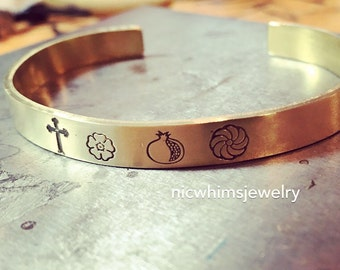 Armenian Symbol Cuff, Pomegranate , Cross, Forget Me Not, Armenian Eternity, cuff bracelet, brass cuff