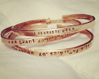 Handstamped Brass OR Nickel Silver Bangle/hammered/Choose Your Saying/Mantra/Coordinates/personalize