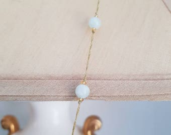 Beautiful Long Semi Precious Ice Quartz & Howlite Knotted Necklace