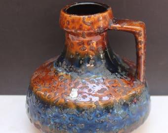 ES Emmons & Sohn Keramik  Vase West German 70's Retro Mid century Fat Lava