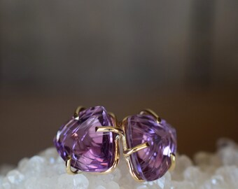 Fantasy Cut Amethyst Earrings. February Birthstone. Solid Gold Gemstone Earrings. Anniversary Jewelry. Amethyst Gold