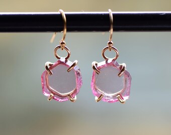 Pink Tourmaline Dangle Earrings. Tourmaline Slices. October Birthstone. Gemstone Earrings. Pink Stone Gold Fill Earrings. Gift for Wife