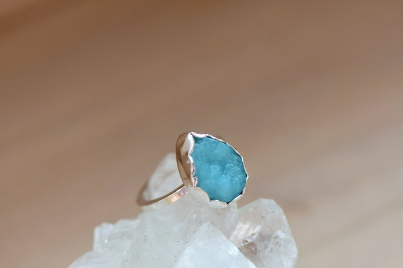 Gift for Her Hemimorphite Druzy Ring Rare Crystal Hemimorphite Crystal Sterling Silver Bezel Set Stone Druzy Cabochon