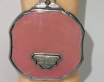 Antique Elgin EAM Art Deco 1930s PINK  Silver Black Dancer Compact Powder Mirror Art Deco Mint Condition with a Wrist Chain