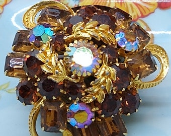 Vintage Root Beer Topaz Crystal Parure Wreath Brooch Clip On Earrings Unsigned