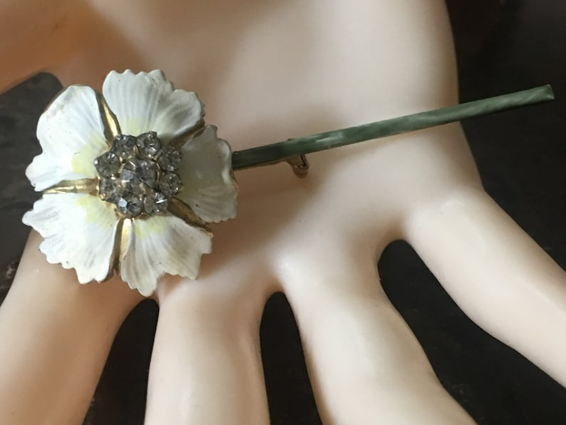 Vtg Floral Enamel RHINESTONE Done by SANDOR Brooch the Perfect Beauty to Wear during the Upcoming Seasons!