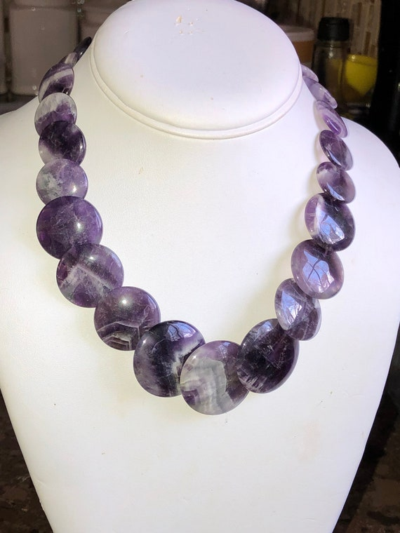 Vintage AMETHYST NECKLACE Disc Style Loads of Purple Lavender Lilac all in One Gorgeous Necklace Simply Beautiful!
