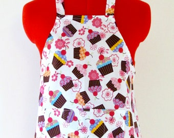Kids Apron - Cupcakes and Flowers Childrens Apron - Childs Apron - Kitchen Accessory