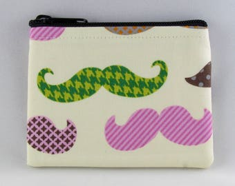 Colorful Mustaches Coin Purse - Coin Bag - Pouch - Accessory - Gift Card Holder